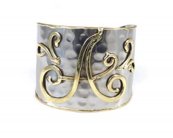 Silver Gold Monogram Cuff Bracelets