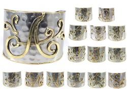 Silver Gold Monogram Cuff Bracelets 15pk
