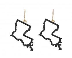 Black Gold Louisiana State Map Open Cut Hook Earrings