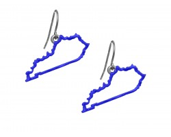 Blue Kentucky State Map Open Cut Hook Earrings
