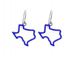 Blue Texas State Map Open Cut Silver Hook Earrings