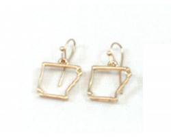 Gold Arkansas State Map Open Cut Hook Earrings