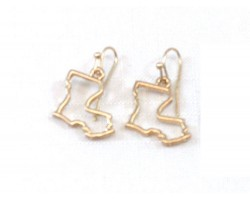 Gold Louisiana State Map Open Cut Hook Earrings