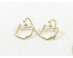 Gold Ohio State Map Open Cut Hook Earrings