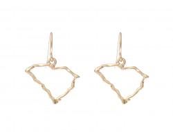 Gold South Carolina State Map Open Cut Hook Earrings