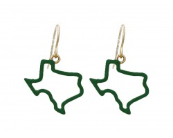 Green Texas State Map Open Cut Gold Hook Earrings
