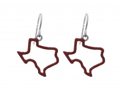 Maroon Texas State Map Open Cut Silver Hook Earrings