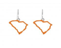 Orange South Carolina State Map Open Cut Hook Earrings