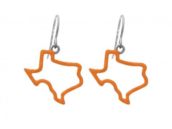 Orange Texas State Map Open Cut Silver Hook Earrings