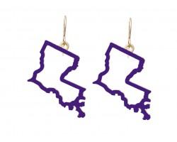 Purple Gold Louisiana State Map Open Cut Hook Earrings