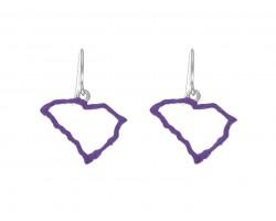 Purple South Carolina State Map Open Cut Hook Earrings