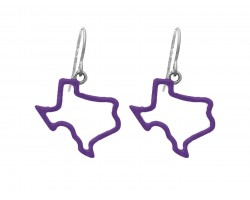 Purple Texas State Map Open Cut Silver Hook Earrings