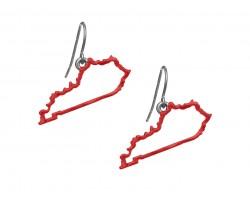 Red Kentucky State Map Open Cut Hook Earrings