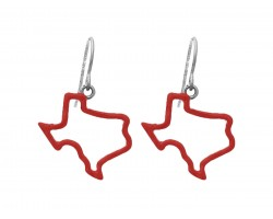 Red Texas State Map Open Cut Silver Hook Earrings