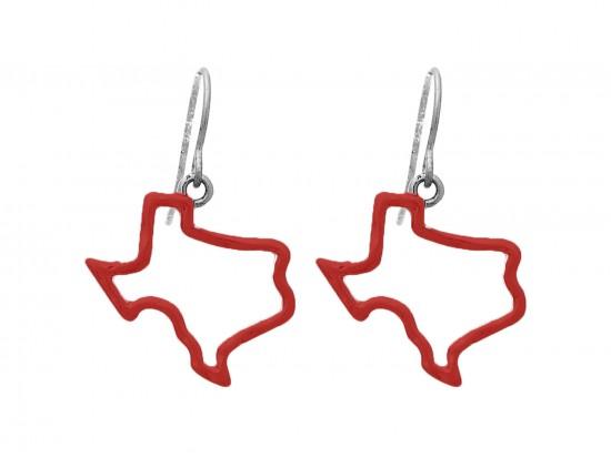 Red Texas State Map Open Cut Silver Hook Earrings
