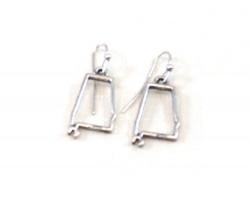 Silver Alabama State Map Open Cut Hook Earrings