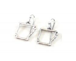 Silver Arkansas State Map Open Cut Hook Earrings