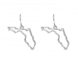 Silver Florida State Map Open Cut Hook Earrings