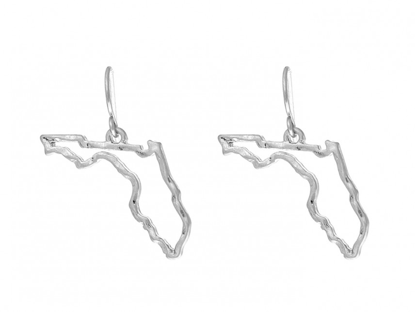 Florida State Map.Silver Florida State Map Open Cut Hook Earrings Sm29383s Fl