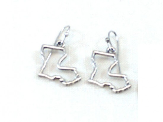 Silver Louisiana State Map Open Cut Hook Earrings
