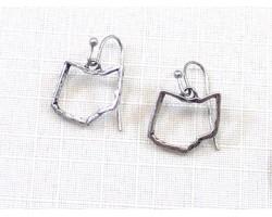Silver Ohio State Map Open Cut Hook Earrings