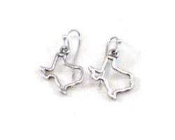 Silver Texas State Map Open Cut Hook Earrings