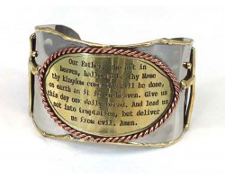 Gold Silver Lord's Prayer Cross Metal Cuff