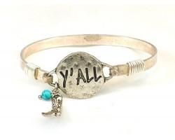 Silver Y'ALL Hook Bracelet