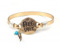 Gold FREE SPIRIT Wire Bracelet