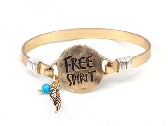 Gold FREE SPIRIT Wire Bracelet