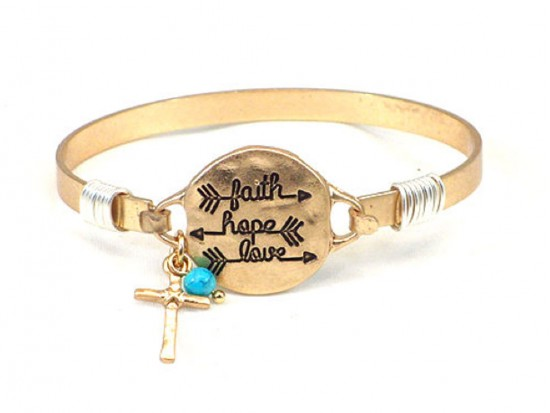 Gold FAITH HOPE LOVE Arrow Wire Bracelet