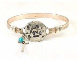 Silver FAITH HOPE LOVE Arrow Wire Bracelet