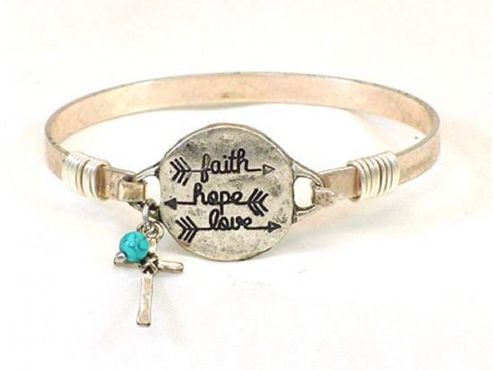 Silver FAITH HOPE LOVE Arrow Wire Bracelet