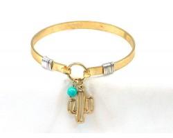 Gold CACTUS Wire Cuff Bracelet