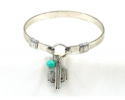 Silver CACTUS Wire Cuff Bracelet