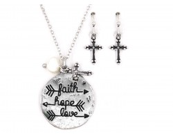 Silver Plated FAITH HOPE LOVE Necklace Set