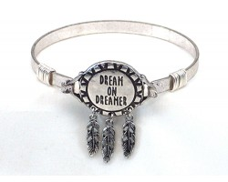 Silver Dream Catcher Feather Wire Bracelet