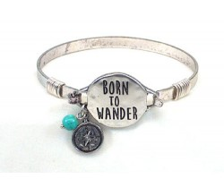 Silver Born to Wander Wire Bracelet