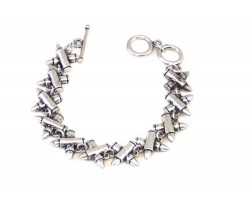 Silver Crossed Bullets Toggle Bracelet