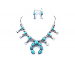 Silver Turquoise Squash Blossom Necklace Set