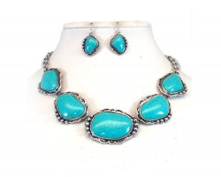 Turquoise Stone Silver Scalloped Necklace Set
