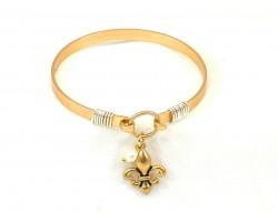 Gold Fleur de Lis Charm Wire Hook Bracelet
