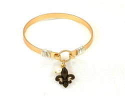 Black Fleur de Lis Charm Wire Hook Gold Bracelet