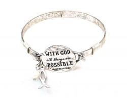 Silver Matthew 19:26 Wire Wrap Bracelet
