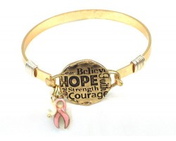 Gold Breast Cancer Affirmation Wire Wrap Bracelet