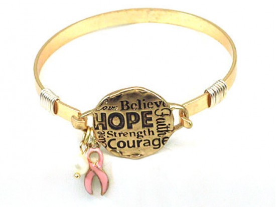Gold Breast Cancer Affirmation Wire Wrap Bracelet