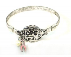 Silver Breast Cancer Affirmation Wire Wrap Bracelet