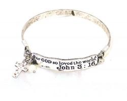 Silver John 3:16 Wire Wrap Bracelet