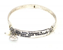Silver Mother Daughter Love Wire Wrap Bracelet