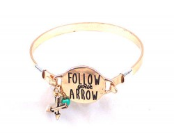 Gold Follow Your Arrow Wire Wrap Bracelet
